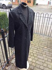 COAT  Grey with black dots Long Split Vent Back Button Cuffs  v-neck Sz 12 SMART