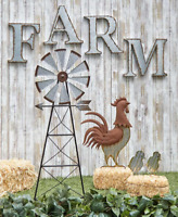 Garden Stakes Yard Decorations Farmhouse Yard Country Tin Metal Windmill Rooster
