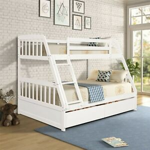 Twin Over Full Bunk Bed, Solid Wood Bed Frame with Two Storage Drawers, Ladder