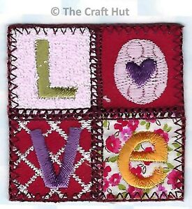 Iron On or Sew On Motif Craft Factory Patch Quilted Love Square 5cm x 5cm New
