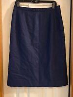 """PENDLETON blue Wool skirt Straight Pencil Below Knee Career 30"""" waist 12 vintage"""