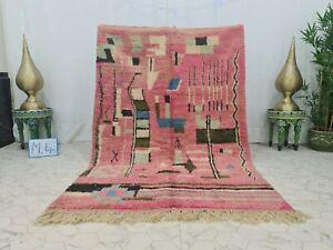 "Moroccan Vintage Boujaad Handmade Rug 4'8""x7' Abstract Pink Green Berber Carpet"