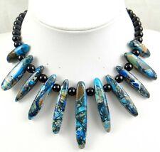 blue Sea Sediment Jasper &agate Handmade Gemstone Jewellery Necklace H10