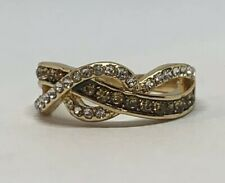 Pre Owned Gold Plated 925 Sterling Silver Clear And Champagne CZ Ring Size 7