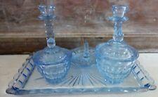 art deco  blue depression glass dressing set