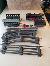 Antique Windup Tin Toy Train extra Cars, Tracks, Key - U.S Zone Germany Working!