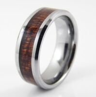 Tungsten Carbide Mens Or Womans 8mm Silver Wedding Band Ring With Koa Wood Inlay
