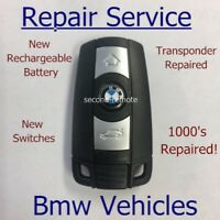 BMW 3 BUTTON REMOTE KEY FIX FOB REPAIR NEW RECHARGEABLE BATTERY + NEW CASE