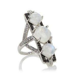 HSN Rarities 0.8 ct Moonstone and Black Spinel Sterling Deco Ring Size 8 $538