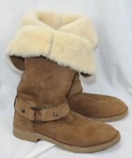 UGG Braiden Shearling Boots Mid Calf Cuff Up or Down Brown Brown Suede Womens 8