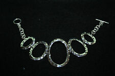 MEXICAN 999 SILVER PLATED HAMMERED ROUND T/BAR BRACELET CONTEMPORARY MODERNIST