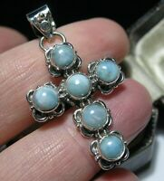 Sterling Silver Real LARIMAR Gem Stone 5.28cts Religious Cross Necklace PENDANT