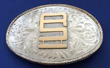 VTG NELSON SILVIA STERLING SILVER & 10K GOLD GEOMETRIC RANCH BRAND BELT BUCKLE