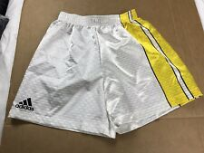Vtg 80s Adidas white Yellow Mens Shiny nylon retro soccer shorts Sz S USA(s3)