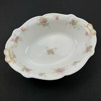 France Depose Limoges Oval Pink Rose Flower Floral Serving Bowl Vintage VTG Chic