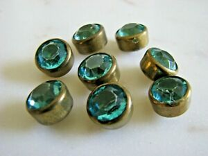 """TRUE VINTAGE SET OF 8 FACETED AQUA CRYSTAL/BRASS 1/2"""" ROUND BUTTONS"""