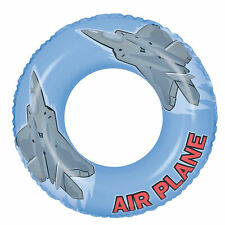 Pool Central 30In Blue Gray Airplane Inflatable Pool Inner Tube Ring Float