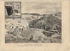 Stampa antica CAGLIARI Anfiteatro e Grotta Vipera Sardegna 1887 Antique print