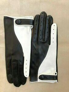 Handmade Men's Driving Black & White Italian Napa Leather Gloves