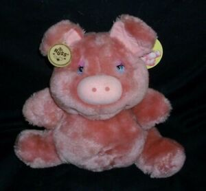 """10"""" VINTAGE RUSS BERRIE CO ROSEY PINK PIGGY PIG STUFFED ANIMAL PLUSH TOY W TAG"""