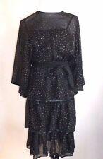 Vintage Anna Di Rossi, Milano, Black & Silver Silk Chiffon Tiered Dress, Euro 42