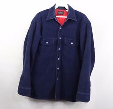 Vintage 80s Sportswear Mens Small Quilt Lined Corduroy Button Shirt Jacket Navy
