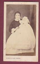 300416 - CDV photo ancienne BLONDELU - femme robe bébé de baptême