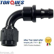 AN -6 (6AN JIC AN6) 90 Degree Push-On Socketless Fuel Hose Fitting Black