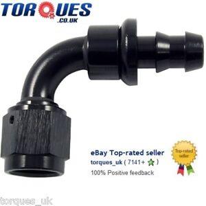 AN -6 (6AN JIC AN6) 90 Degree Push-On Socketless Fuel Hose Fitting Black