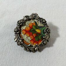 Broche bijou ancien porte photo Napoléon III argent perles nœud style Louis XVI