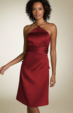 Nicole Miller Bow Back Satin  Dress Merlot red  ( Size 10)