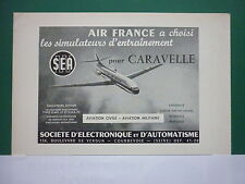 1950'S PUB SEA COURBEVOIE SIMULATEUR CARAVELLE AIRLINER AIR FRANCE FRENCH AD