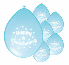 10 x CHRISTENING BOY BLUE BALLOONS PARTY DECORATIONS (PA)
