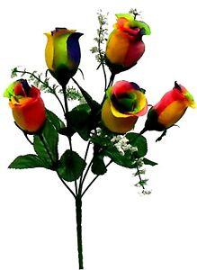 5 Rose Buds Bush Silk Flowers Wedding Fake Artificial Faux Bouquet Party Decor