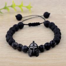 Charm Popular Black Spartan Helmet Natural Stone Adjustable Macrame Bracelets