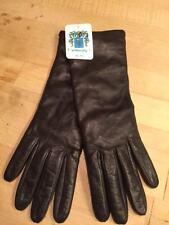 PORTOLANO Napa Soft Supple Black Leather Cashmere Lined GLOVES New NWT LADIES