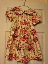 MARIA ELENA GIRLS SIZE 6 GORGEOUS DRESS YELLOW BACKGROUND WITH RED/WHITE FLOWERS
