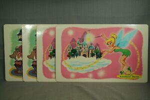 set 4 vintage Walt Disney vinyl placemats Tinker Bell & Snow White