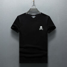 Men's Luxury Embellished Skull Designer T-Shirt Slim Fit Fashion Tee Size: S-3XL