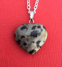 NEW Dalmatian Jasper Gemstone Heart Pendant Necklace Women's - Aussie Seller!!
