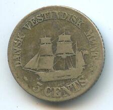 Antilles danoises Frederik VII 5 Cents argent 1859 KM 65