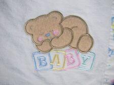 Cuddle Time Baby Blanket Bear White Pastel Trim Blocks Vintage Made In USA