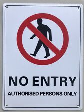 No Entry Authorised Persons Only Sign Safety Thick Sturdy Plastic Plate 22x30 cm