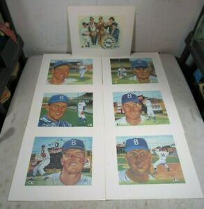 7 Vintage 1950's Susan Rini Brooklyn Dodgers Baseball Art Lithograph Prints