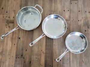"Cuisinart Pan Lot -  3 Quart Saute 4330-24H 10"" Skillet 422-24 8"" Skillet 422-20"