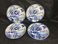 """Sango Salad Plates 7 3/4"""" Handcrafted Kitchen Garden Blue Herbs 6144 Set of 4"""