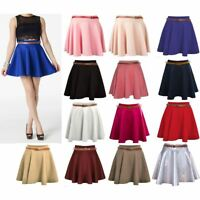 Womens Girls Skirts Ladies's Belted Flared Plain Mini Skater Skirt Sizes UK 8-14