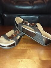 Fitflop Wobbleboard Ladies Womens Brown Leather Slides Shoes Size 7 Very Nice