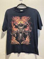 Skullbone Biker Grim Reaper Dragon Men's Graphic Tshirt Black XL 100% Cotton