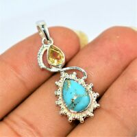 Copper Mohave Turquoise & Citrine 92.5 Sterling silver Handmade Pendant 1.55""